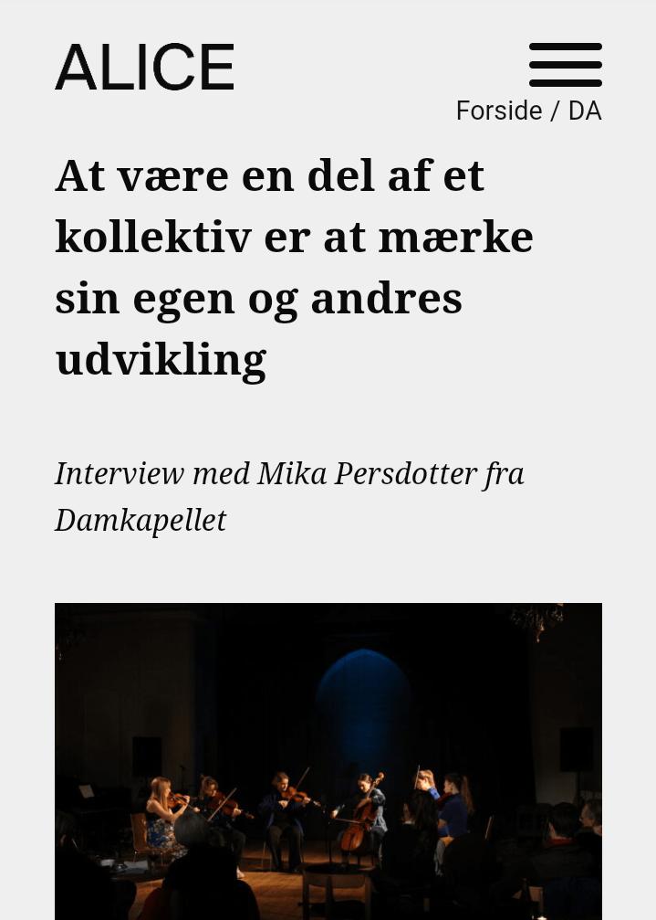 Alice cph Interview med Mika Persdotter fra Damkapellet